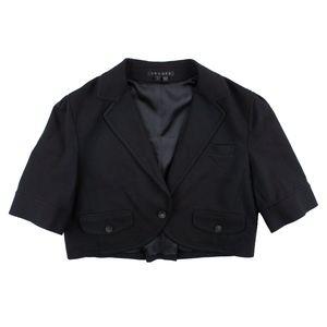 THEORY Black Ponte Knit Cropped Jacket Blazer
